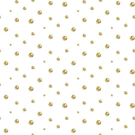 shimmer: Gold foil glitter polkadot seamless pattern. Vector shimmer abstract circles texture. Sparkle shiny balls background. Illustration