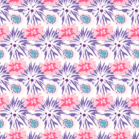 dense: Spring wild velvet and rose flower field seamless pattern. Floral tender fine summer dense vector pattern on white background. For fabric textile prints and apparel.