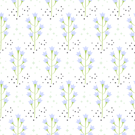 bluebell: Wild pastel bluebell flower spring field seamless pattern. Floral tender fine summer vector pattern on white background. For fabric textile prints and apparel. Illustration