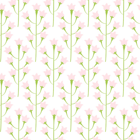bluebell: Wild bluebell pink pastel flower spring field seamless pattern. Floral tender fine summer vector pattern on white background. For fabric textile prints and apparel. Illustration