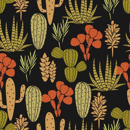 home garden: Succulents cacti plant vector seamless pattern. Botanical black, orange and green khaki desert flora fabric print. Home garden cartoon cactuses for wallpaper, curtain, tablecloth.