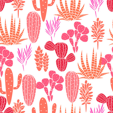 home garden: Succulents cacti plant vector seamless pattern. Botanical pink and rose desert flora fabric print. Home garden cartoon cactuses for wallpaper, curtain, tablecloth.