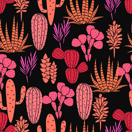 desert rose: Succulents cacti plant vector seamless pattern. Botanical black and pink rose desert flora fabric print. Home garden cartoon cactuses for wallpaper, curtain, tablecloth.