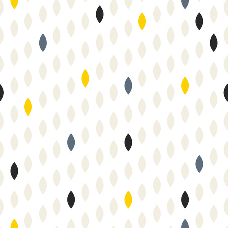 Simple drop polka dot grey and yellow shape seamless pattern. Vector geometric row background. Polkadot pattern. Dotted scandinavian ornament.