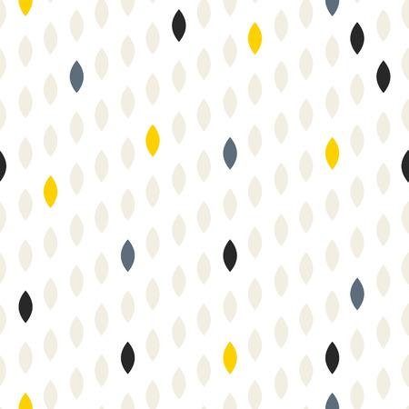 Simple drop polka dot grey and yellow shape seamless pattern. Vector geometric row background. Polkadot pattern. Dotted scandinavian ornament.