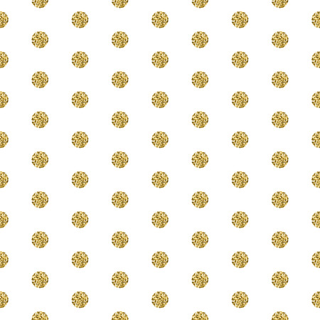 shimmer: Gold foil shimmer glitter polkadot white seamless pattern. Vector shimmer abstract circles golden texture. Sparkle shiny balls background.