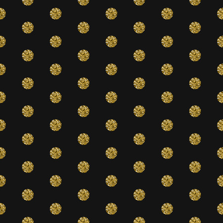 shimmer: Gold foil shimmer glitter polkadot dark seamless pattern. Vector shimmer abstract circles grey texture. Sparkle shiny balls background.