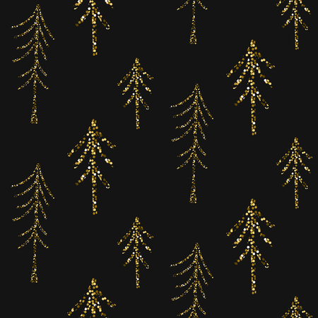 shimmer: Gold foil glitter pine woods dark seamless pattern. Vector shimmer abstract forest grey texture. Sparkle shiny trees background.