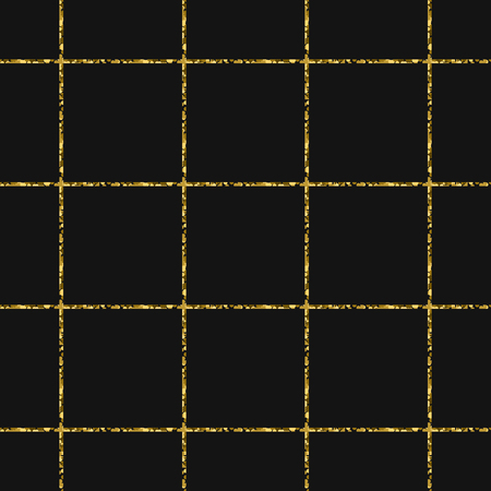 shimmer: Gold foil glitter line stripes dark seamless pattern. Vector shimmer abstract grey texture. Sparkle shiny cells background.