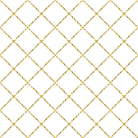 shimmer: Gold foil glitter line stripes white seamless pattern. Vector shimmer abstract texture. Sparkle shiny cells background.