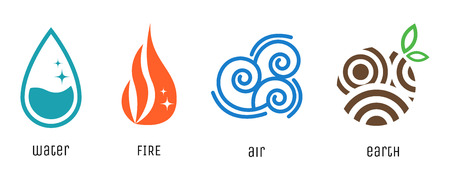 Four elements flat style symbols. Water, fire, air and earth signs.
