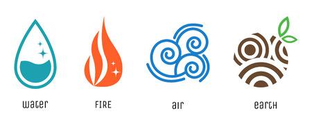 cuatro elementos: Cuatro elementos símbolos de estilo plano. Los signos de agua, fuego, aire y tierra. Vectores
