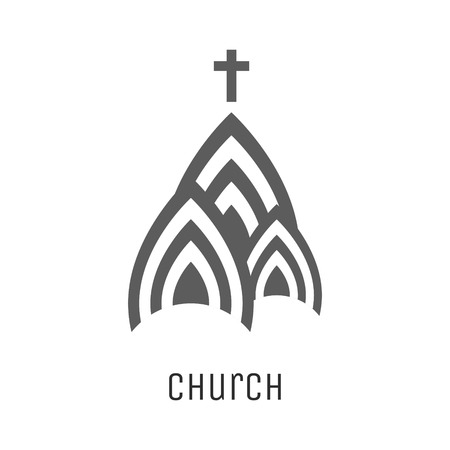 church building: Church vector icon. Religious concept three domes symbol of church building with cross.