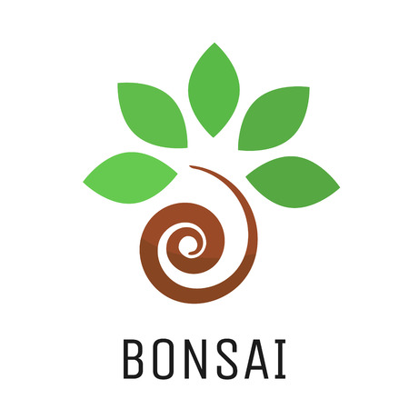 raíz de planta: Bonsai icono del vector del árbol. Estilizada japón símbolo cultivo de plantas bonsái.