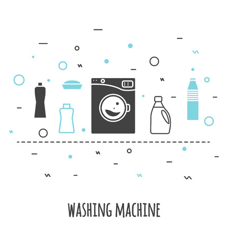 wash machine: Washing machine icon in flat line style. Isolated gray and blue on white background. Outline vector icon wash machine with chemical supplies banner. Illustration