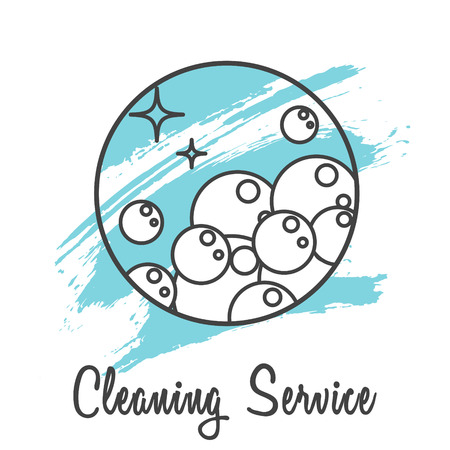 cleaning services: Cleaning service company  badge. Soap bubbles in round line icon with brush strokes on background.