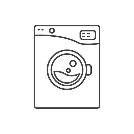 washer machine: Washing machine line icon sign isolated. Outlined automatic washer symbol. Black and white.