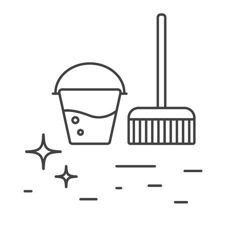 Los accesorios de limpieza cubo con iconos del agua y de la línea de la fregona. Icono brillante del piso esquema limpieza.