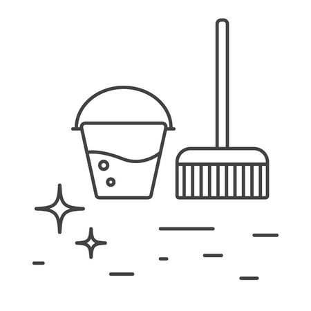 limpieza: Los accesorios de limpieza cubo con iconos del agua y de la línea de la fregona. Icono brillante del piso esquema limpieza.
