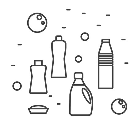 chemical cleaning: Cleaning detergent supplies in modern line style. Vector illustration. Chemical products in household bottles.