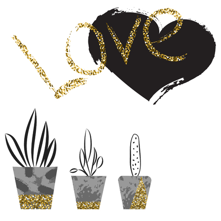 gold silhouette: Flowers in concrete pots. Love card template. Abstract plants in cement pots with glitter details. Shimmer love lettering. Black brushed heart art. Scandinavian interior details.