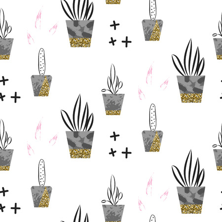 shimmer: Glitter scandinavian ornament. Concrete pots with plants. Vector gold seamless pattern collection. Modern shimmer details stylish texture. Illustration