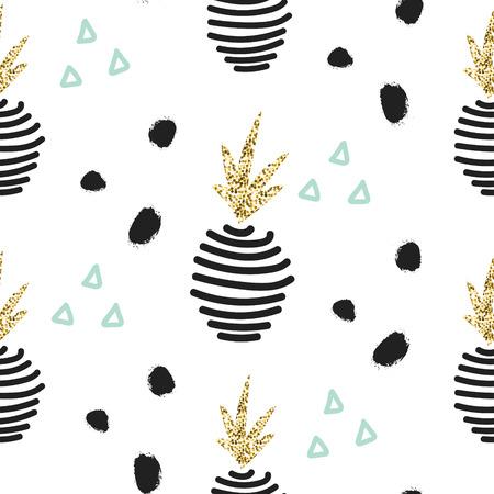 Glitter Scandinavische gestreept ornament ananas. Vector gouden naadloos patroon collectie. Modern shimmer gegevens stylish textuur.