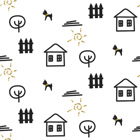the courtyard: Glitter scandinavian courtyard fun ornament with house, dog, tree and fence. Vector gold seamless pattern collection. Modern shimmer details stylish texture. Illustration