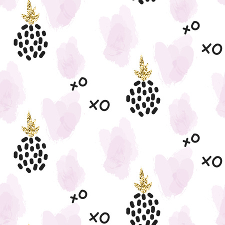 Glitter scandinavian xoxo pineapple ornament. Vector gold seamless pattern collection. Modern shimmer details and pink brushstrokes stylish texture. Ilustração