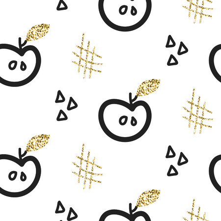 Glitter scandinavian ornament. Vector gold apples and hash seamless pattern collection. Modern shimmer details stylish texture. Çizim