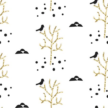 bird illustration: Glitter scandinavian ornament. Vector gold tree woods with black bird seamless pattern collection. Modern shimmer details stylish texture. Illustration