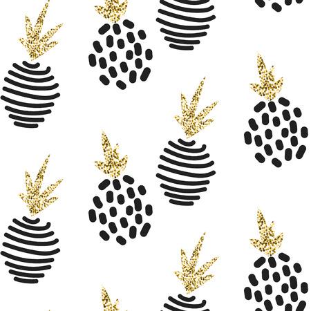 스칸디나비아 추상적 인 파인애플 장식 반짝이. 벡터 화이트 골드 원활한 패턴 컬렉션입니다. 현대 쉬머 세부 질감을 세련된.