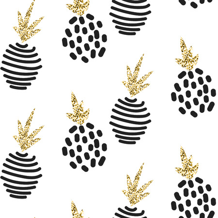Glitter scandinavian abstract pineapple ornament. Vector white gold seamless pattern collection. Modern shimmer details stylish texture.