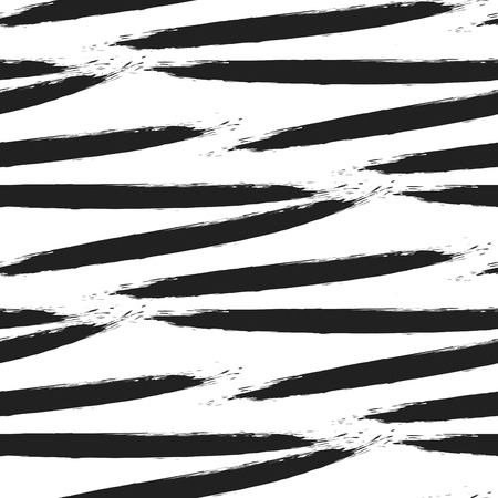 swab: Paint black ink brush strokes bold zebra vector seamless pattern. Artistic monochrome black and white stains and swabs in abstract manner. Illustration