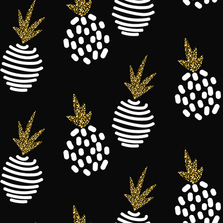 Glitter scandinavian striped pineapple ornament. Vector black gold seamless pattern collection. Modern shimmer details stylish texture. Иллюстрация