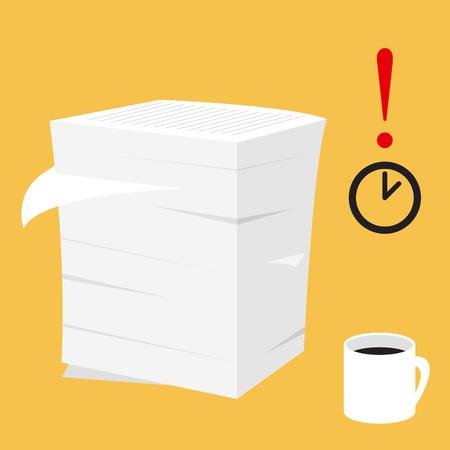 ilustración vectorial papeleo. Pila de documentos en papel. plazo reloj tiempo limitado.