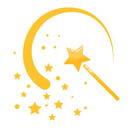 Magic wand stars flat icon cartoon illustration. Isolated magic stick with sway wave track. Illustration