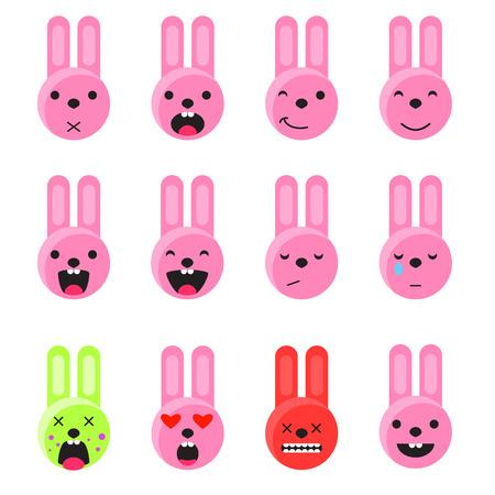 smile icon: Bunny smile emoji set. Emoticon icon flat style vector set. Expression comic emoji rabbits. Smiley pink icons.