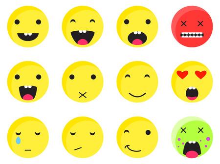 disgusting: Yellow round smile emoji set. Emoticon icon flat style vector set. Expression comic emoji rabbits. Smiley face icons. Illustration