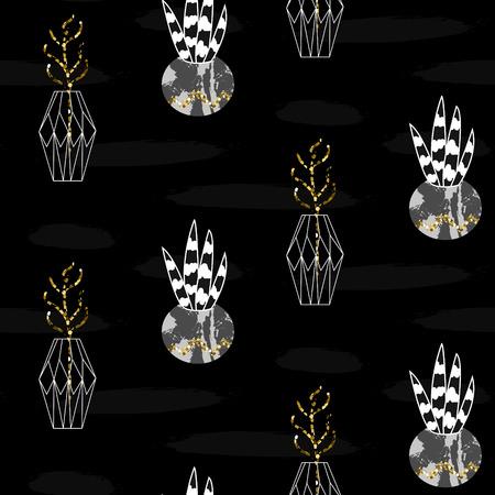 pot decoration: Glitter scandinavian black pots ornament. Concrete geometric pots with plants. Vector gold seamless pattern collection. Modern shimmer details mint brushstroke texture.