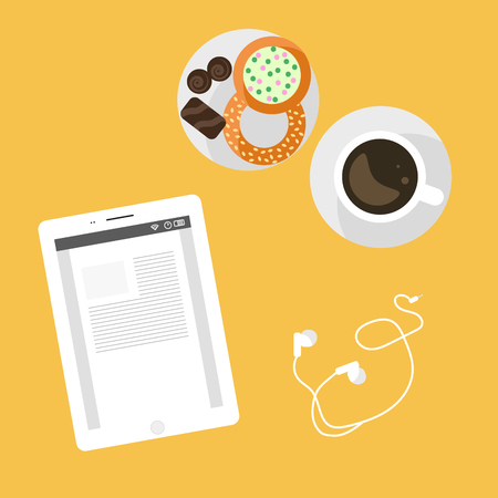 snack time: Morning breakfast day planning. Tablet pc on table and cup of coffee with sweets. Snack time. Top view and flat design illustration. Illustration