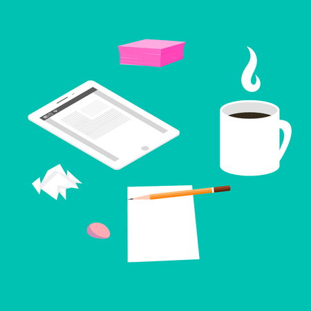 snack time: Morning breakfast day planning. Tablet pc on table and cup of coffee. Snack time and brainstorming. Top view and flat design illustration. Illustration