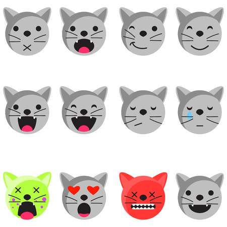 Cat smile emoji set. Emoticon icon flat style vector set. Expression comic emoji kittens. Smiley cat grey icons.