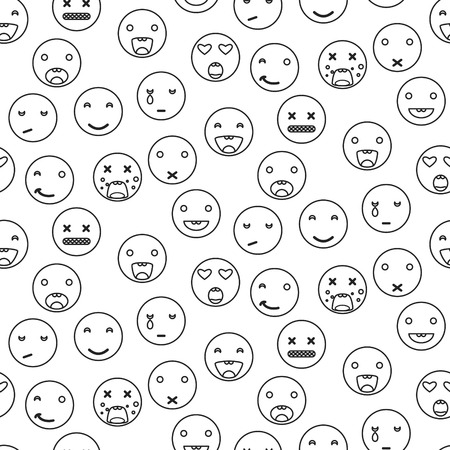 disgusting: Outline round smile emoji seamless pattern. Emoticon icon linear style vector background. Expression comic emoji. Smiley face icons.