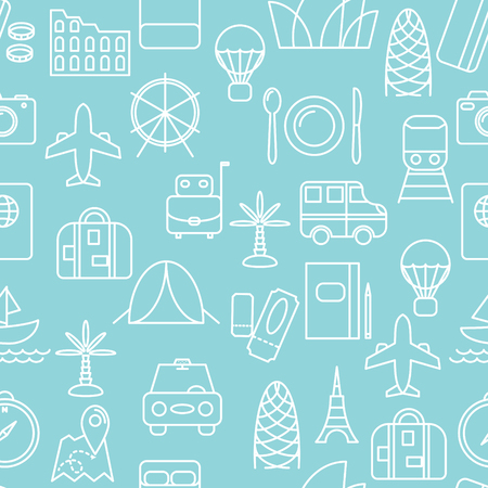 Thin line icons seamless pattern. Travel and transportation icon blue background for websites, apps, presentations, cards, templates.