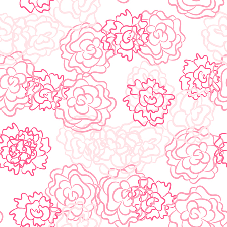 Romantic rose and peonies seamless pattern. Densely printed flowers love theme background. Pink rose and white colors. Иллюстрация
