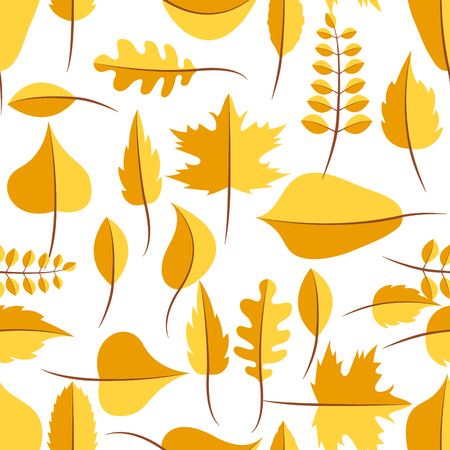 withered: Autumn yellow withered leaves in flat lay style seamless pattern. Oak leaf, chestnut leaf, maple, birch and acacia leaves. Illustration