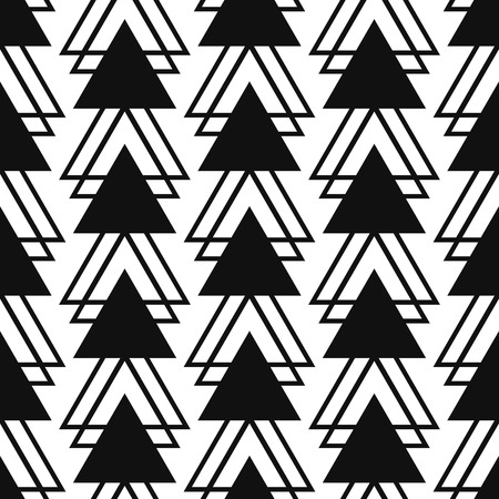 starlight: Simple triangle shape black and white seamless pattern. Vector geometric monochrome starlight background. Triangle pattern. Triangle monochrome classic ornament.