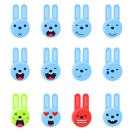disgusting: Bunny smile emoji set. Emoticon icon flat style vector set. Expression comic emoji rabbits. Smiley blue icons.