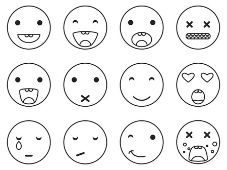 disgusting: Outline round smile emoji set. Emoticon icon linear style vector set. Expression comic emoji. Smiley face icons.